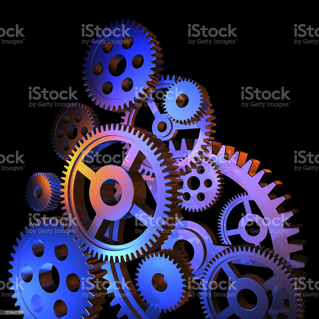 Abstract colorful gears stock photo