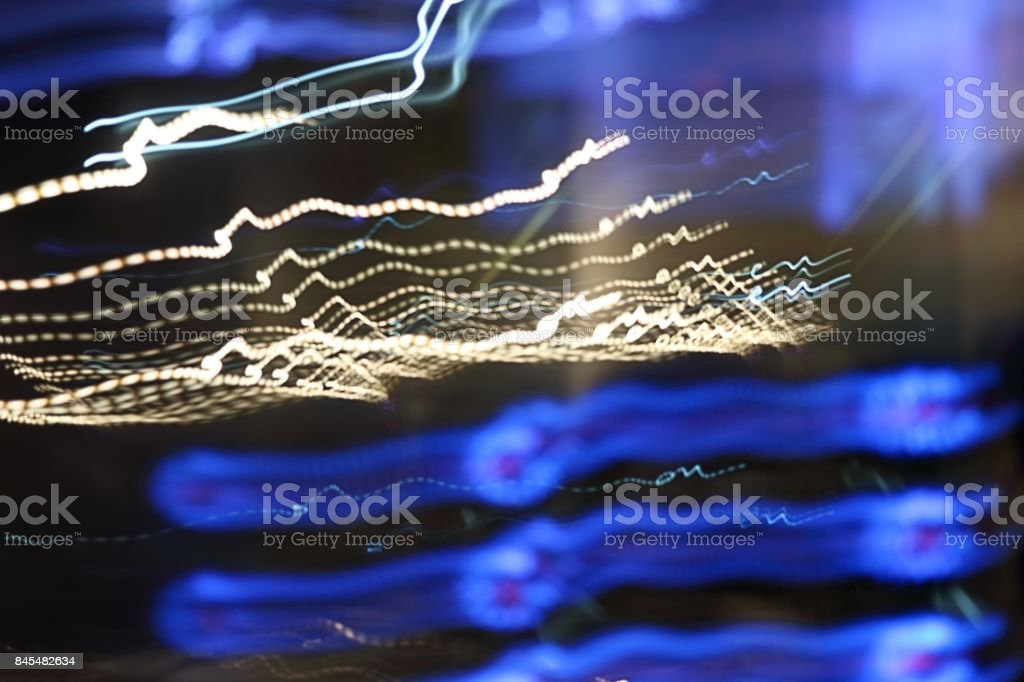 Abstract colorful light motion background. Slow speed shutter stock photo
