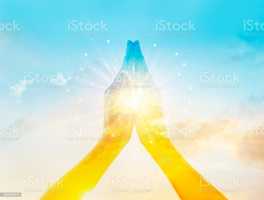 Abstract colorful respect and pray on sky background stock photo