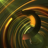 Abstract colorful spiral on dark background. 3d rendering