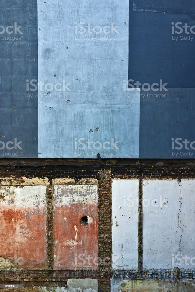 Abstract Colorful Wall in a Ruined Brick Building royalty-free stock photo
