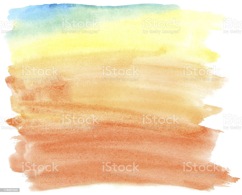 Abstract colorful watercolor brush strokes, may be used as background royalty-free stock photo