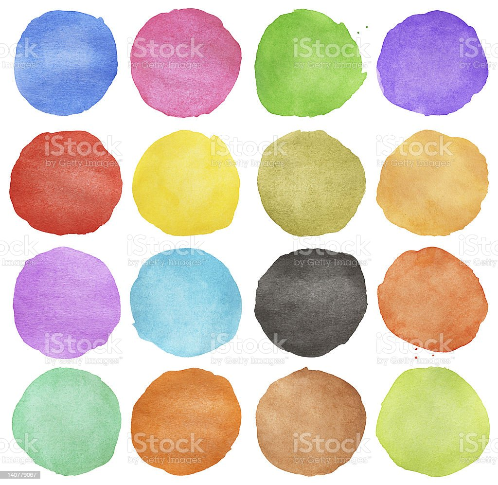 Abstract colorful watercolor circle stock photo