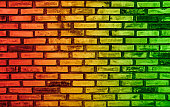 Abstract colors on brick wall background and reggae music