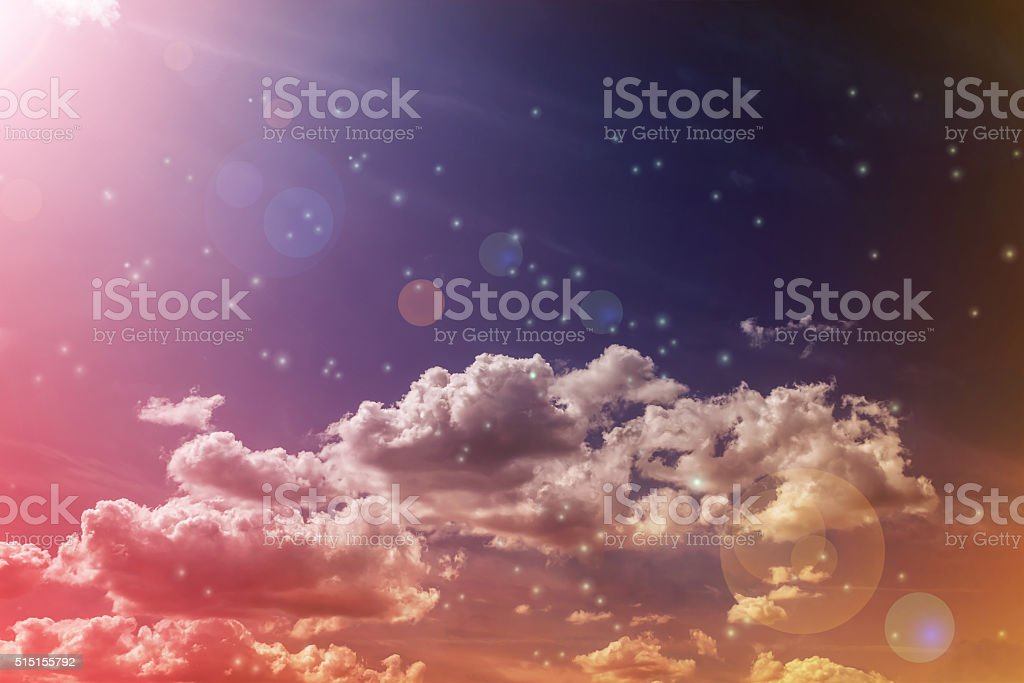 Abstract colourful dreamy sky with romantic soft mood stock photo