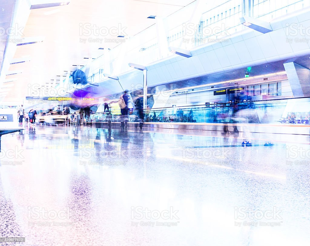 Abstract Commuters at the Airport stock photo