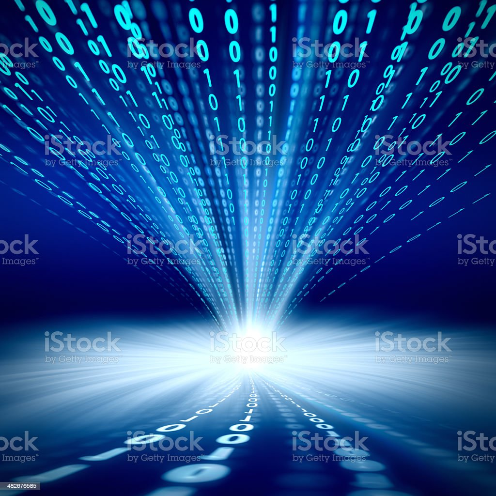 3D abstract composed of binary code on blue stock photo