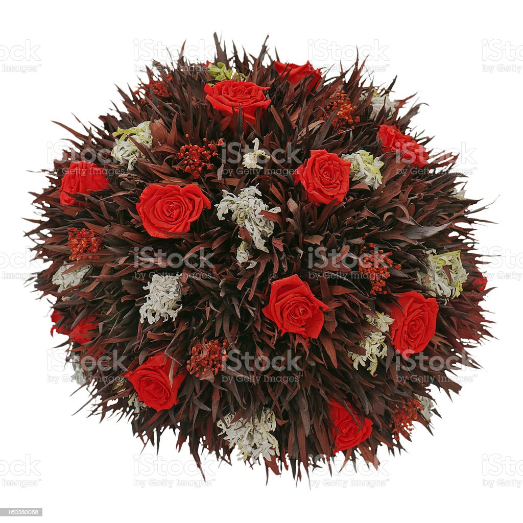abstract composition from red dry roses royalty-free stock photo