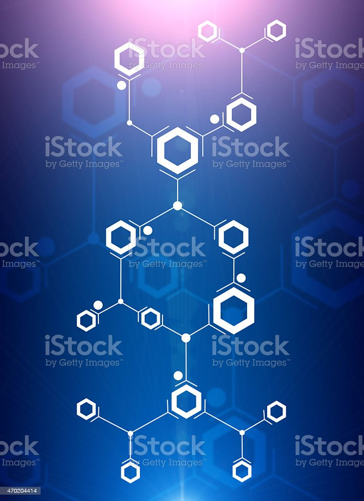 Abstract composition of white lines and hexagons stock photo
