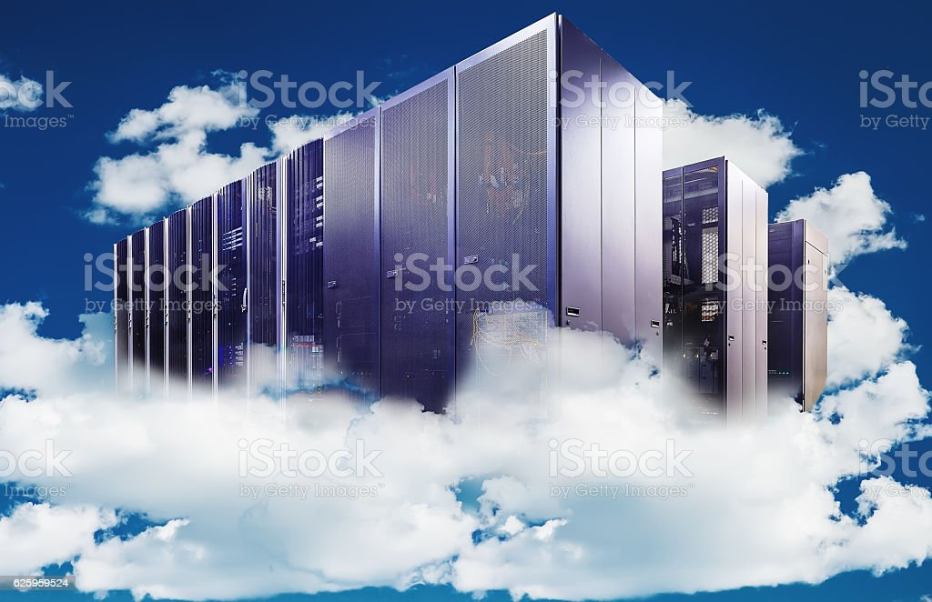 abstract Computer  in cloudy sky as symbol for cloud-computing stock photo