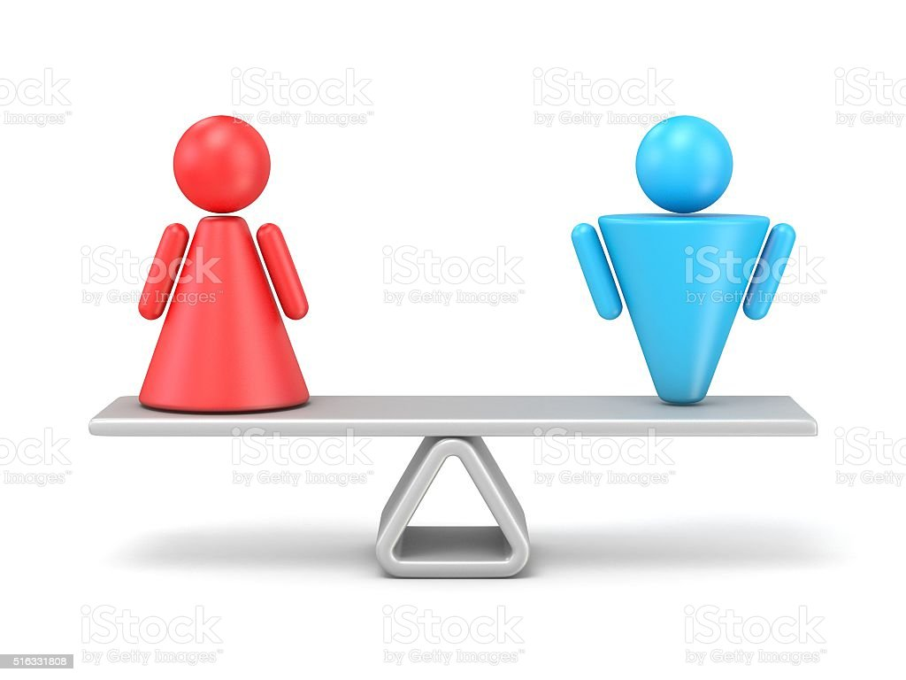 Abstract concept of gender equality. 3D stock photo