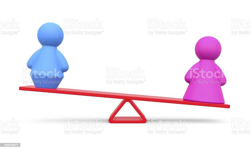 Abstract concept of gender equality isolated on white stock photo