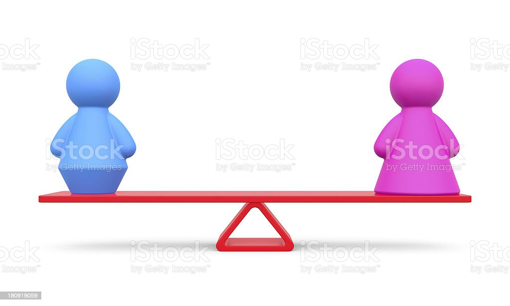 Abstract concept of gender equality on white background. royalty-free stock photo
