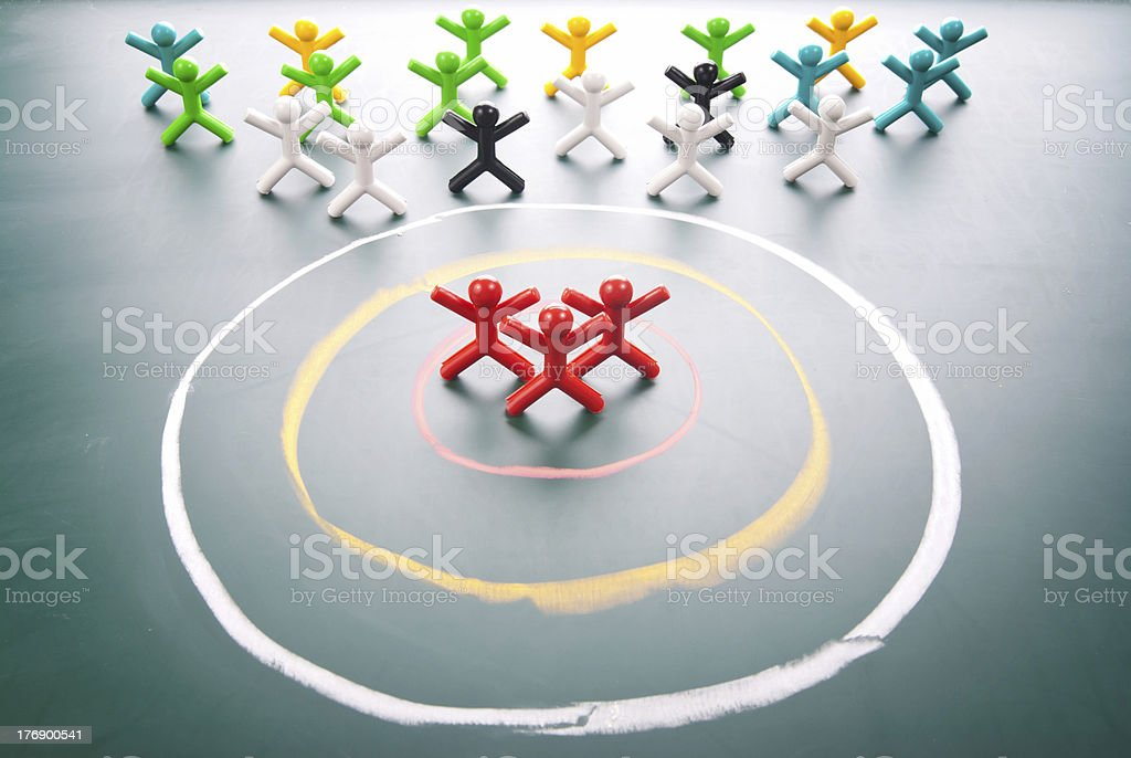 Abstract concept of targeting a specific group of people stock photo