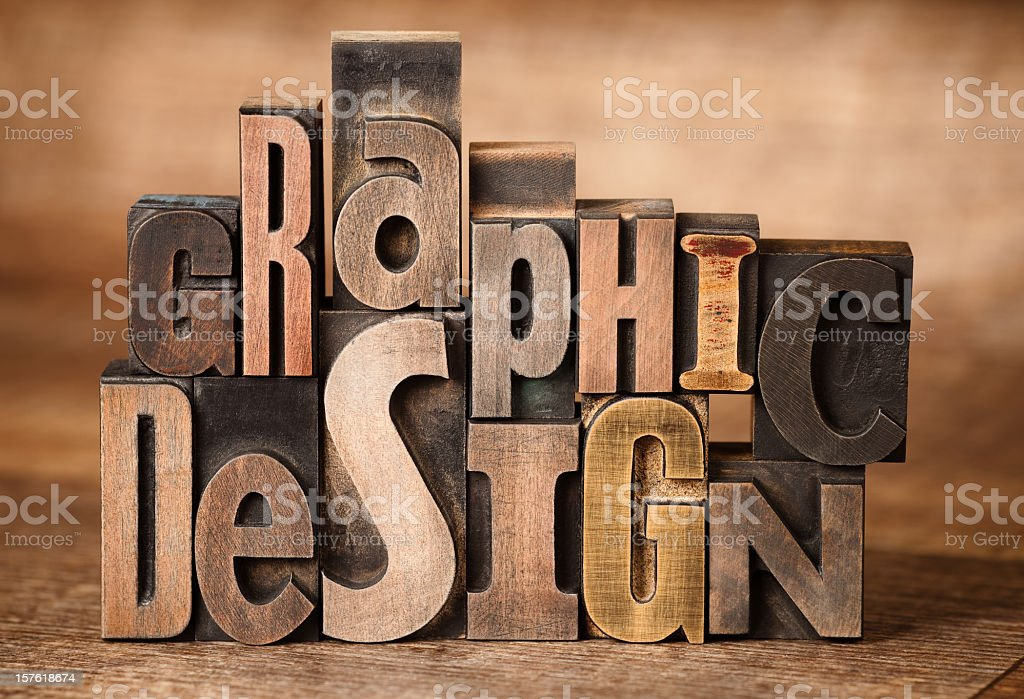 Abstract concept of wooden design letters royalty-free stock photo
