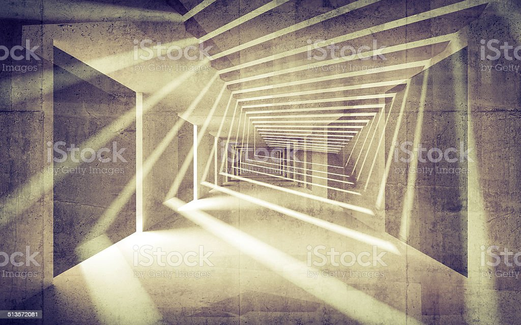 Abstract concrete 3d interior perspective with light beams stock photo