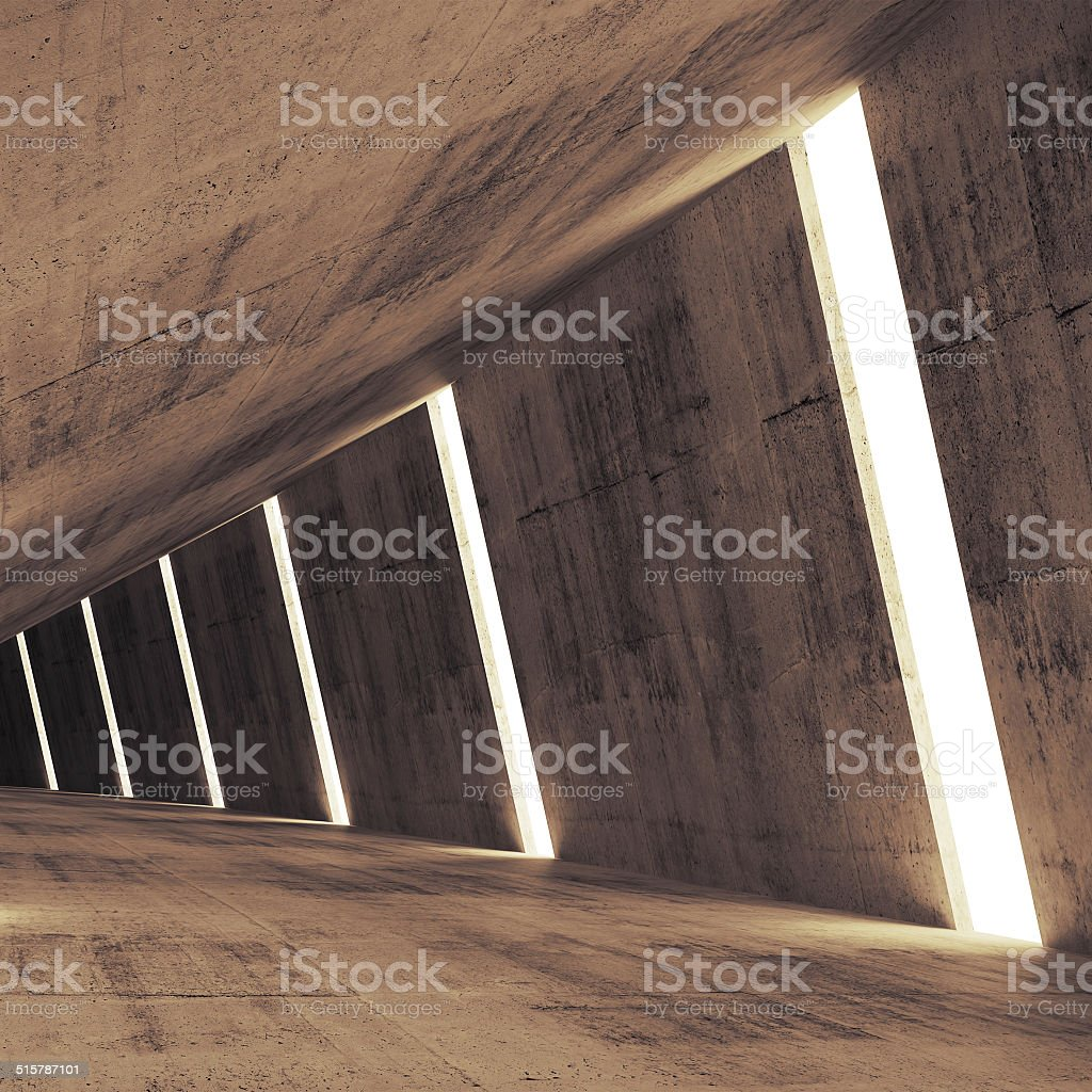 Abstract concrete 3d interior perspective with light stripes stock photo