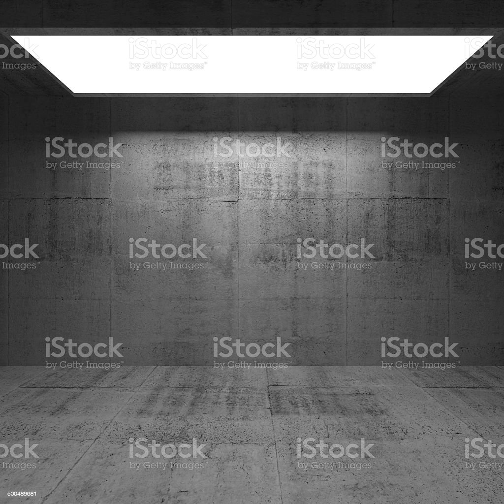 Abstract concrete 3d interior with light portal stock photo