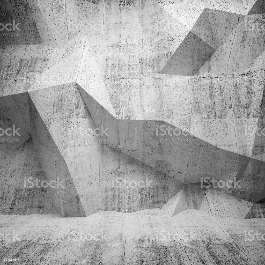 Abstract concrete 3d interior with polygonal pattern on the wall royalty-free stock photo