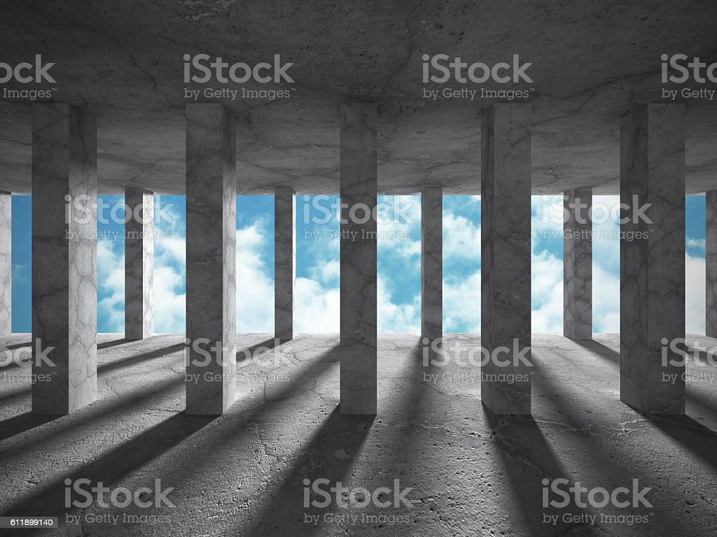 Abstract concrete architecture on cloud sky background stock photo