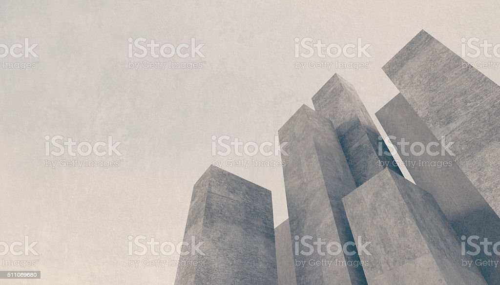 Abstract concrete city background with towering stone buildings stock photo