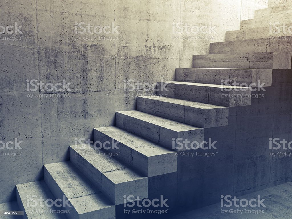 Abstract concrete interior, cantilevered stairs 3d stock photo