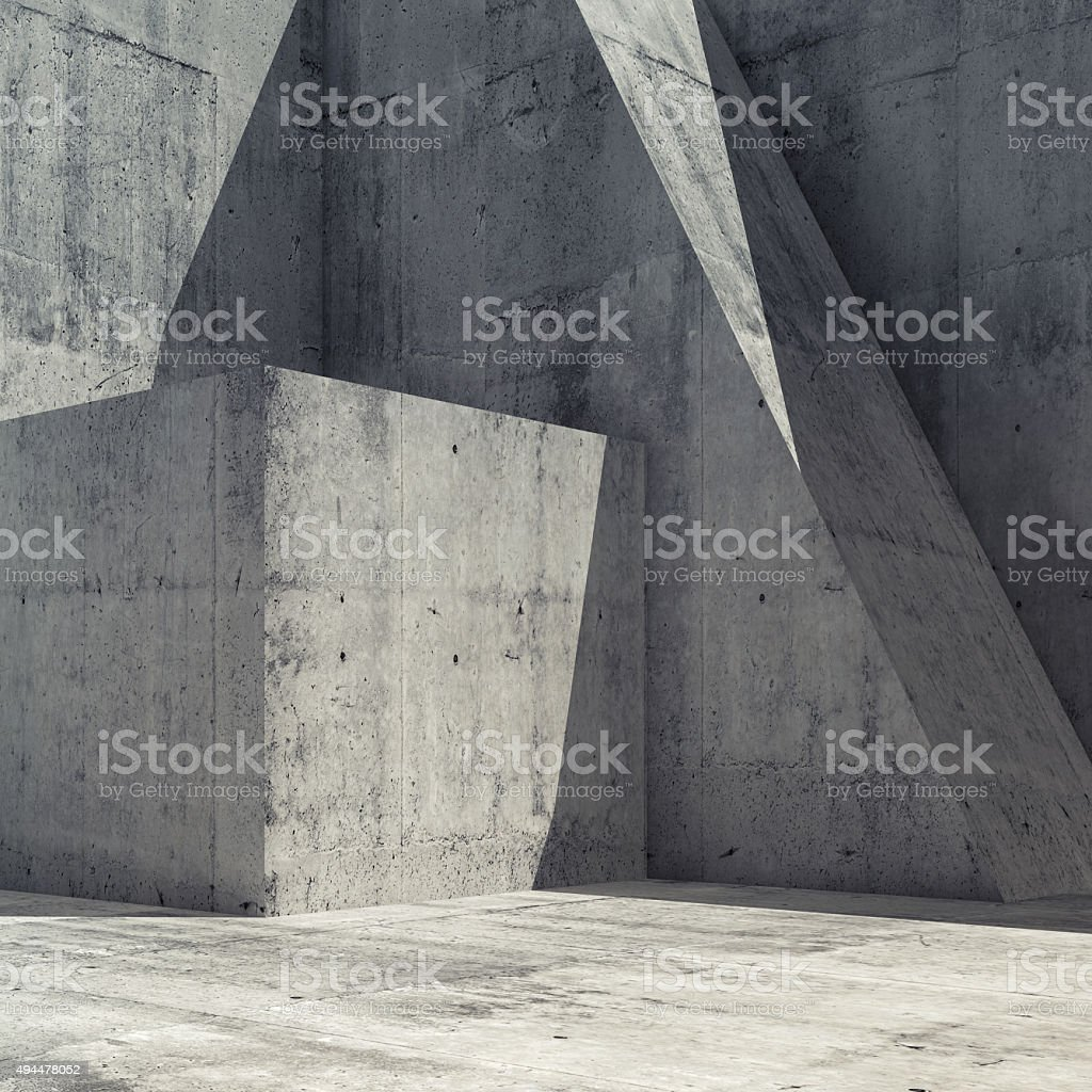 Abstract concrete interior with geometric shape 3 d stock photo