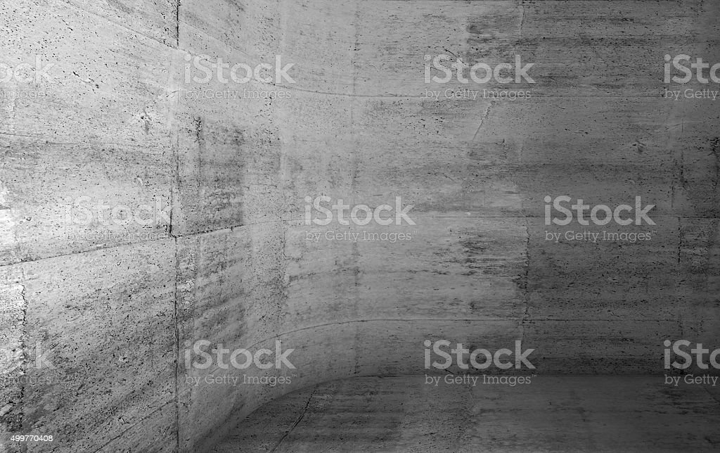 Abstract concrete interior with rounded corner 3d stock photo