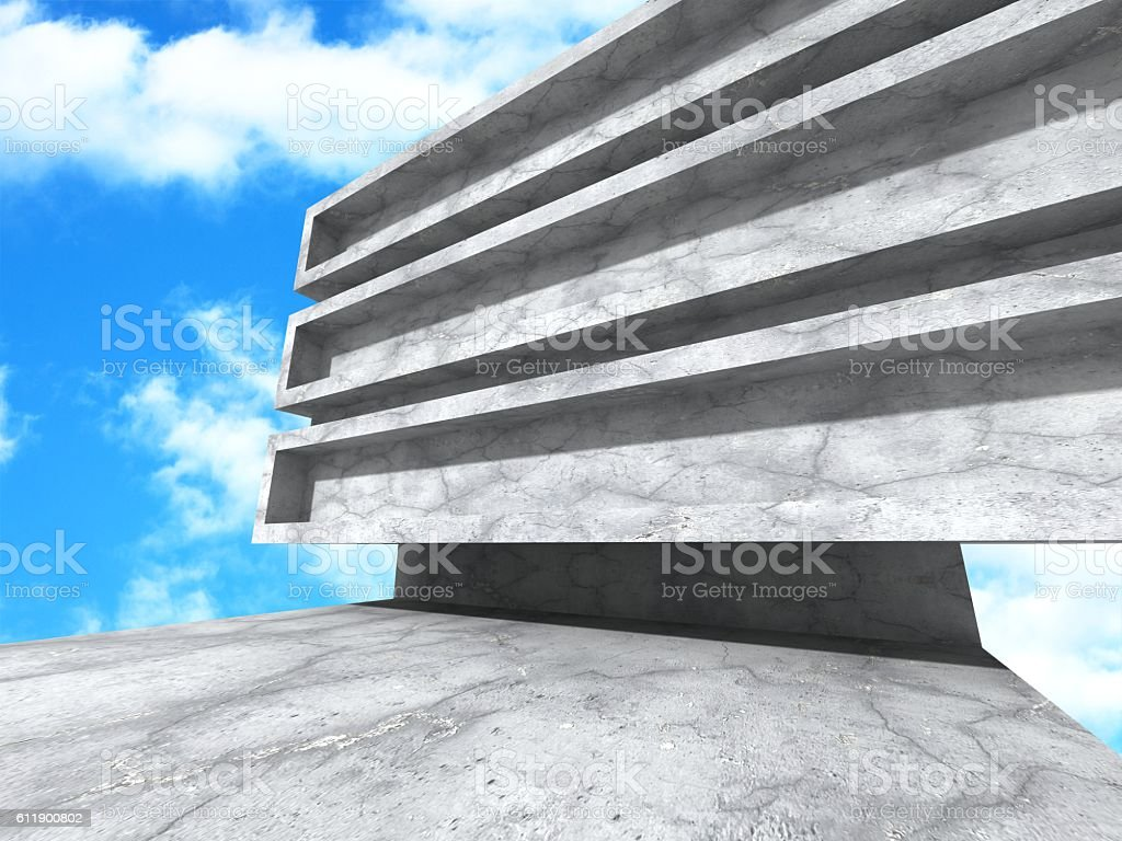 Abstract concrete modern architecture on blue sky background stock photo