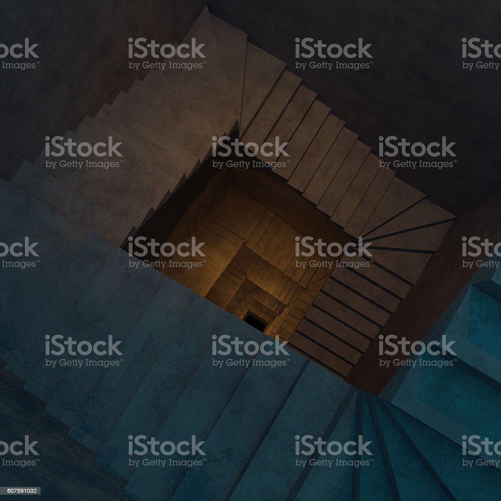 Abstract concrete spiral staircase stock photo