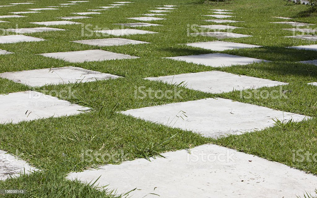 Abstract Concrete Squares in Park royalty-free stock photo