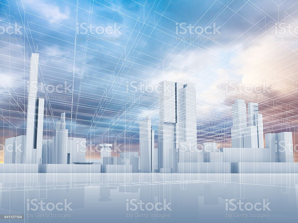 Abstract contemporary city background 3 d stock photo