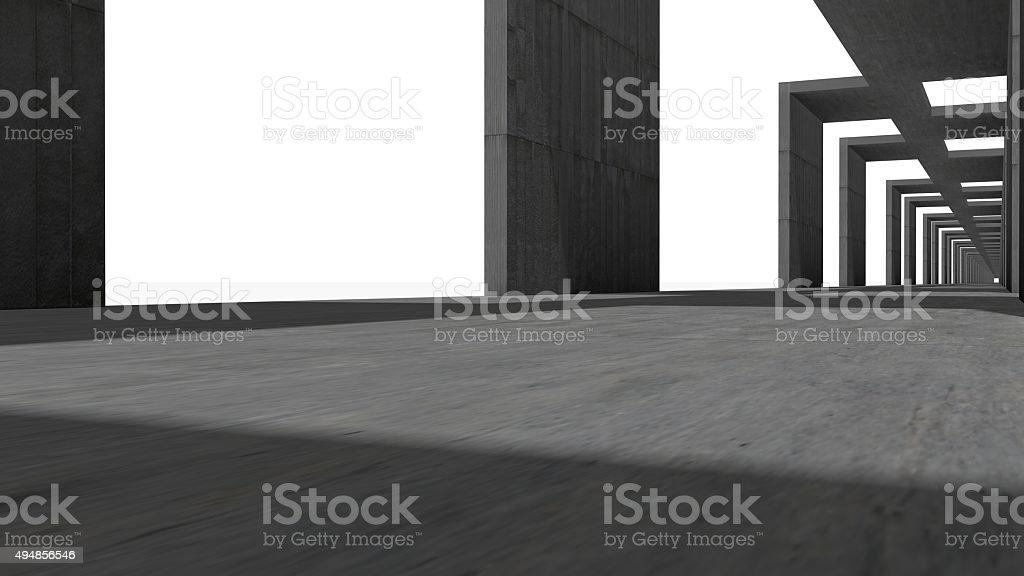 Abstract corridor, made in concrete stock photo