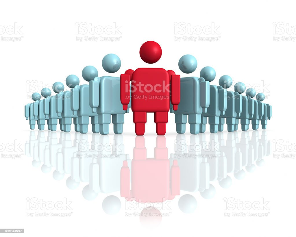 Abstract crowd with one red man in front stock photo