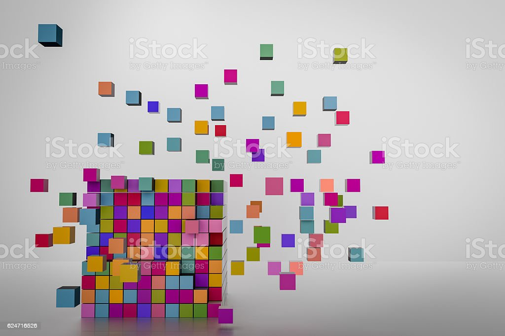 abstract cube geometric background stock photo