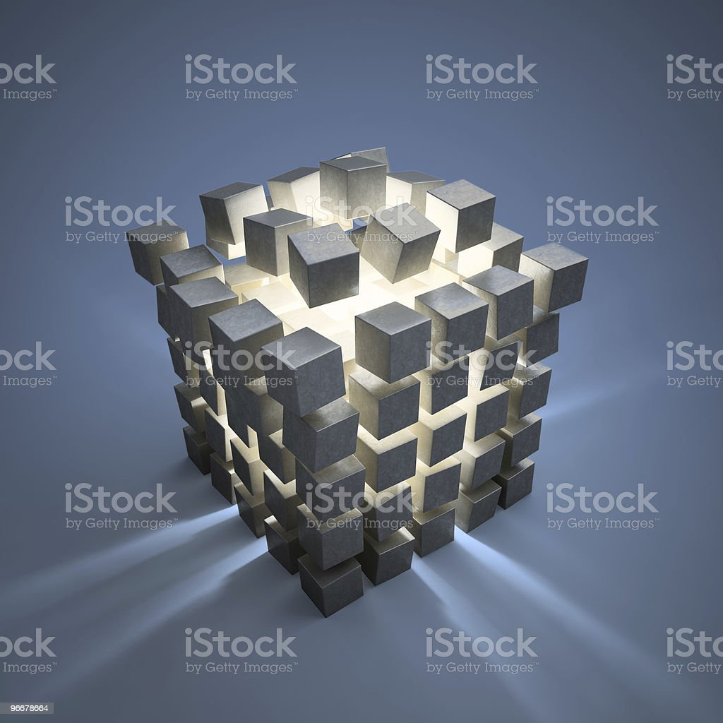 Abstract cubes explotion vector art illustration