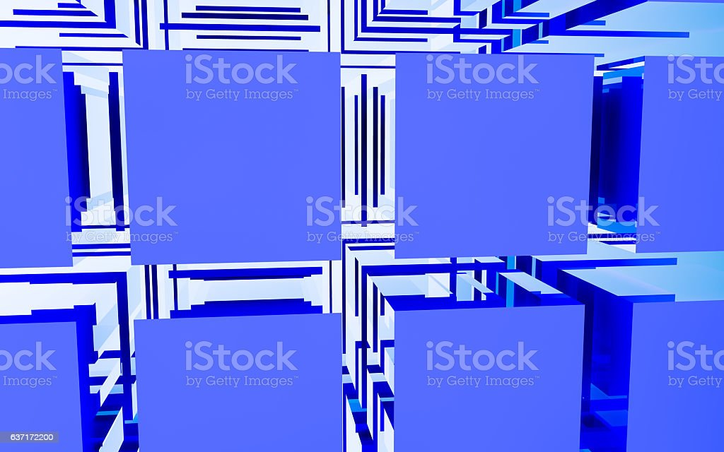 Abstract cubic blue grid stock photo