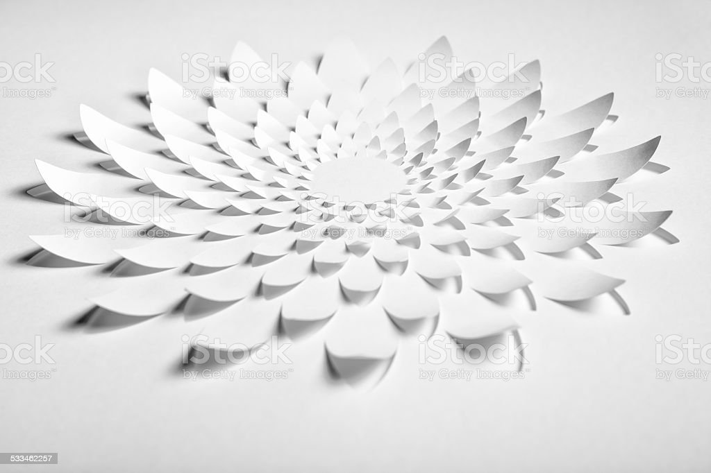 Abstract Cuttet Paper Flower stock photo
