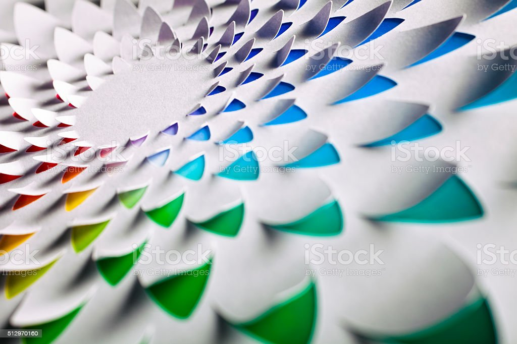 Abstract Cuttet Paper Rainbow Flower stock photo