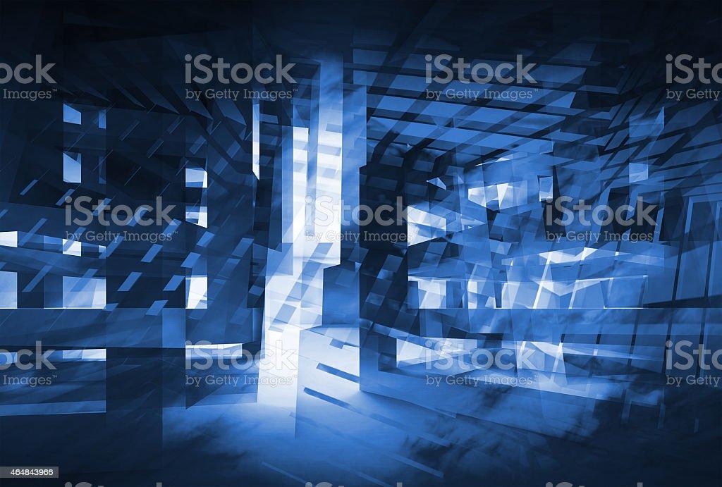 Abstract dark blue 3d digital background. Hi-tech concept stock photo