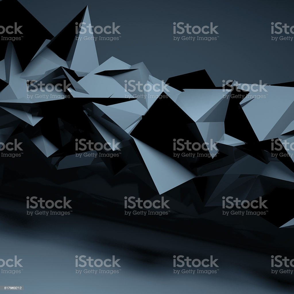 Abstract dark blue digital polygonal background stock photo