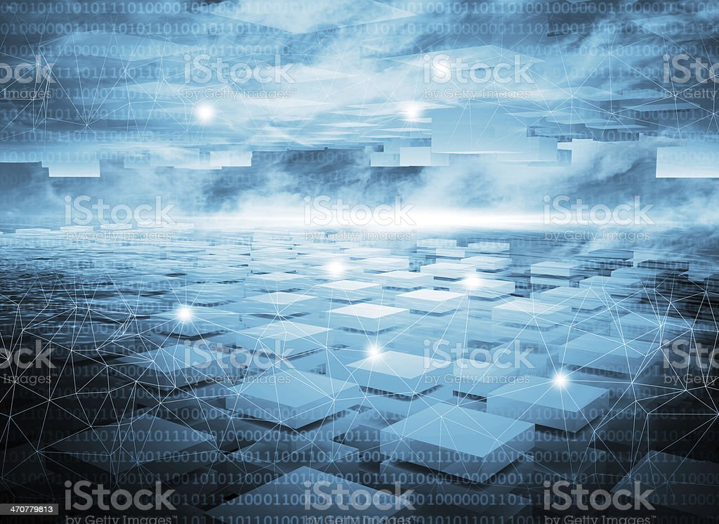 Abstract dark blue digital technology 3d background with lights stock photo