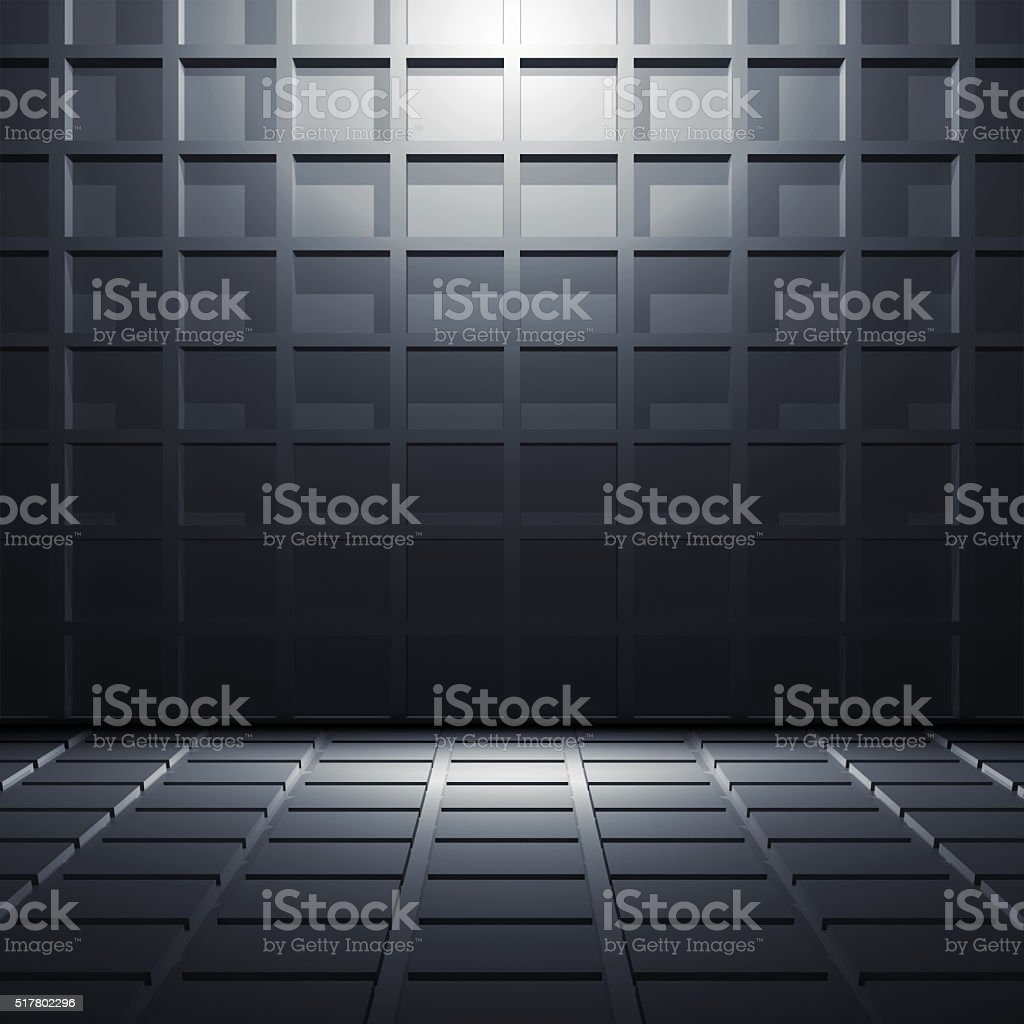 Abstract dark blue shining 3 d interior stock photo