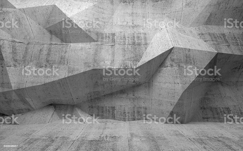 Abstract dark concrete 3d interior with polygonal pattern on the stock photo
