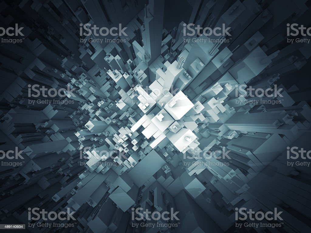 Abstract dark futuristic 3d structure perspective stock photo