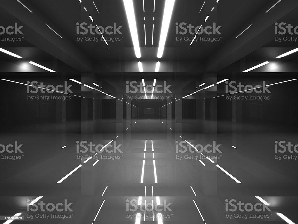 Abstract dark modern interior with shining black walls stock photo