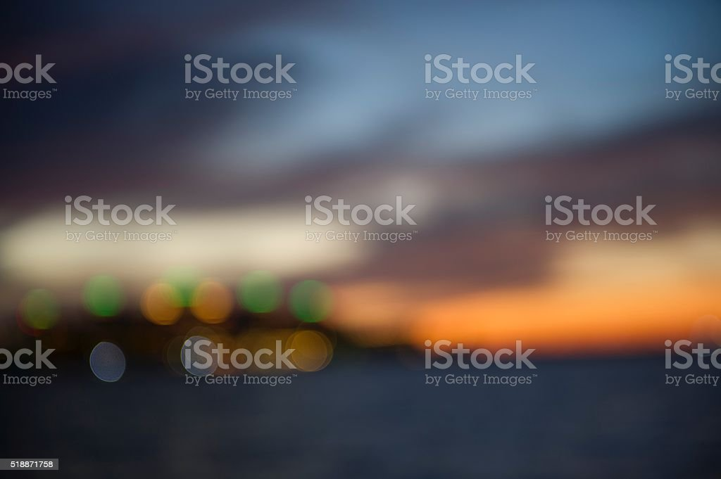 Abstract Defocused Background Of Sunset On Beach stock photo