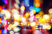 abstract defocused city street scene at night