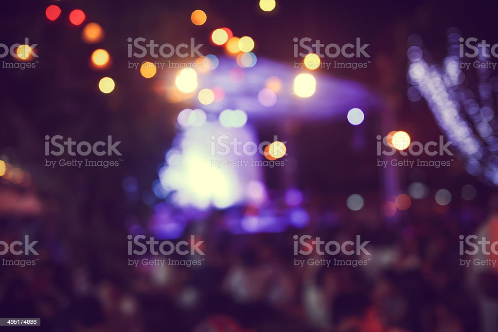 Abstract De-focused Live concert gig during Christmas outdoor event stock photo