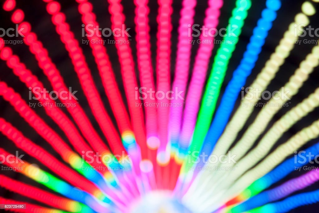 Abstract defocused Multi Colored Tunnel Lamp scene at night stock photo